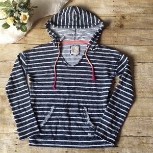 Billabong Blue & White Striped Hoodie Size Small